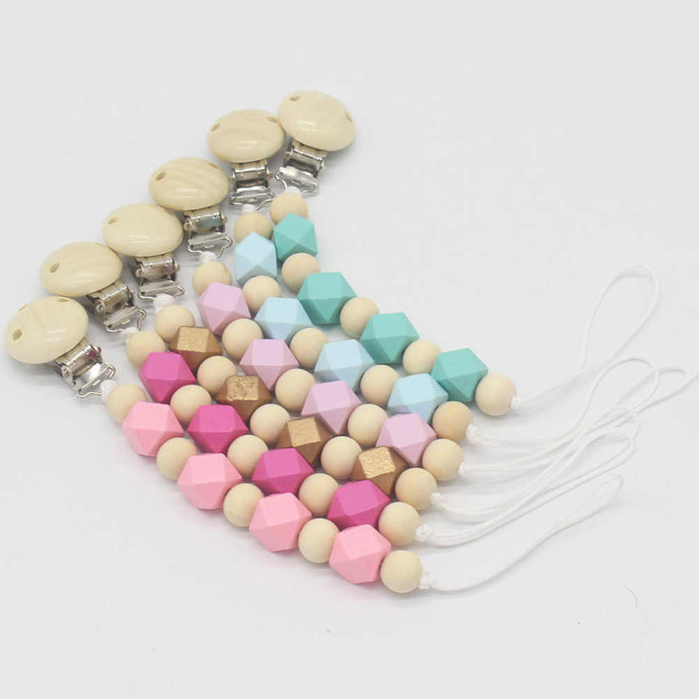Baby Pacifier Clip Chain Wooden Holder Nipple Soother Pacifier Clips Leash Strap Nipple Holder for Infant Feeding