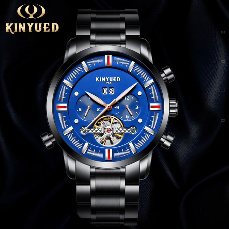 KINYUED Top Brand Automatic Men Watch Tourbillon Luminous Waterproof Mens Skeleton MechanicalWatches Full Steel erkek kol saati forsining full calendar tourbillon auto mechanical mens watches top brand luxury wrist watch men erkek kol saati montre homme