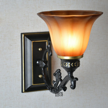 Vintage European Creative Corridor Wall Lamps Mirror Front Glass shade balcony Wall Lighting Fixtures Stair Hallway Wall Lights