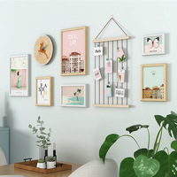 Pastoral 6 pcs/set With Clock Photo Frame Wall Decoration Creative Combination Wall Hanging Picture Frame Home Decor Frame Set