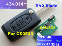 RMLKS CE0523 Fit For 207 307 307S 308 407 607 Remote Flip Folding Key 433mhz PCF7942 ID46 Chip Uncut blade 3 Button Remote Key