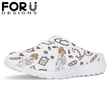 FORUDESIGNS Cartoon Sketch Physio Printed Summer Light Beach Women Sandals Nurse Flats Shoes Casual Female House Slippers