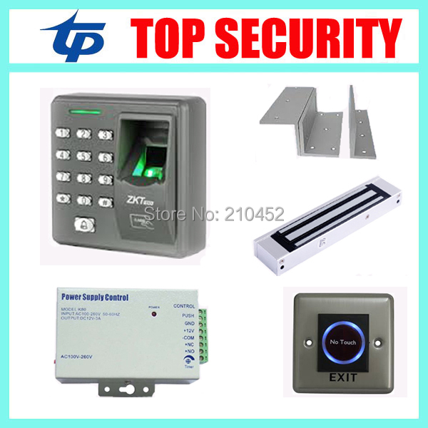 Free shipping full access control system X6 fingerprint and card door control system with EM lock power supply and exit button biometric fingerprint access controller tcp ip fingerprint door access control reader