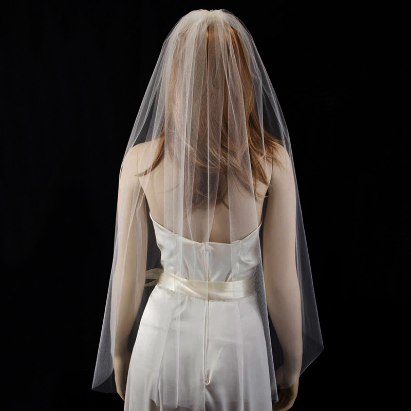 "Купить с кэшбэком 36"" Fingertip Length Bridal Veil with A Simple Cut Edge White Ivory Wedding Veil with Comb Veu De Noiva Longo"