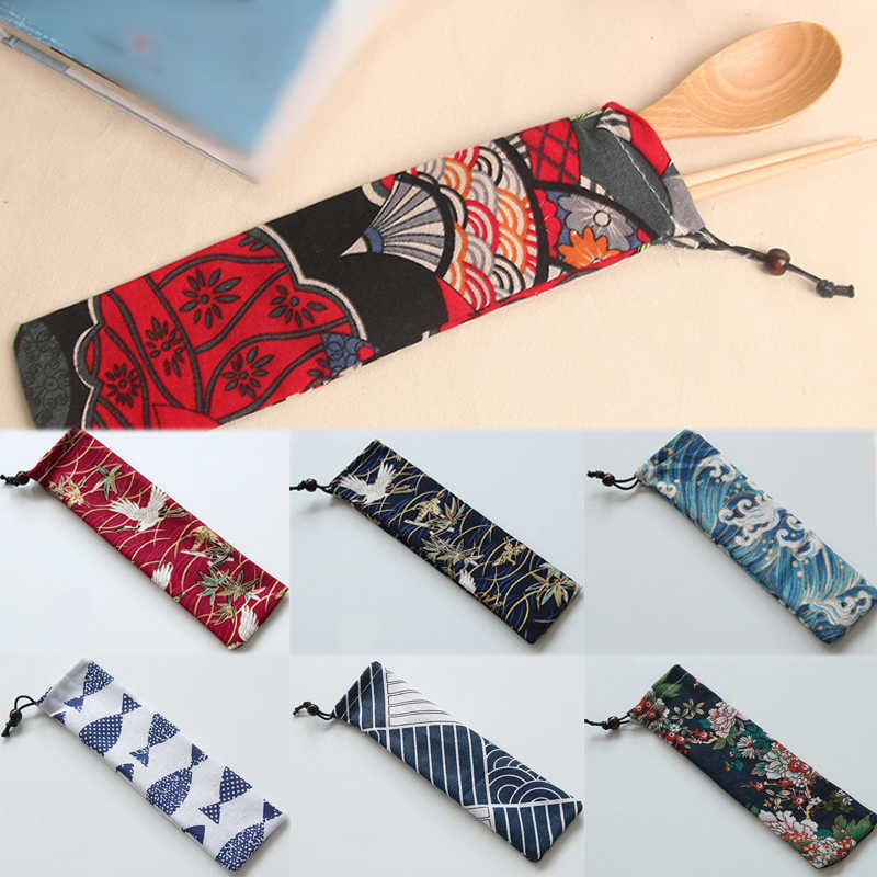 1pc New Fashion Storage Organizer Drawstring Bag Japan Harajuku Canvas  Container Portable Knife Fork Travel Cutlery Draw Bag