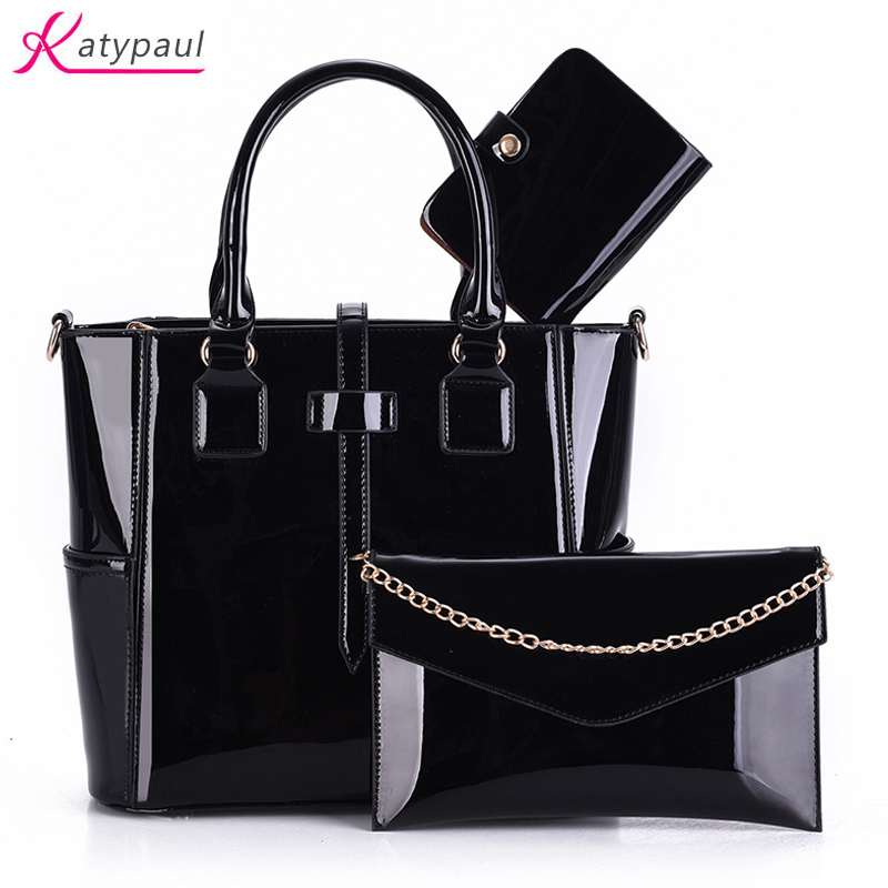 Women Bag Luxury Leather Purse and Handbags Fashion Famous Brands Designer Handbag For 2017 Female Shoulder Bag sac a main 3 Set