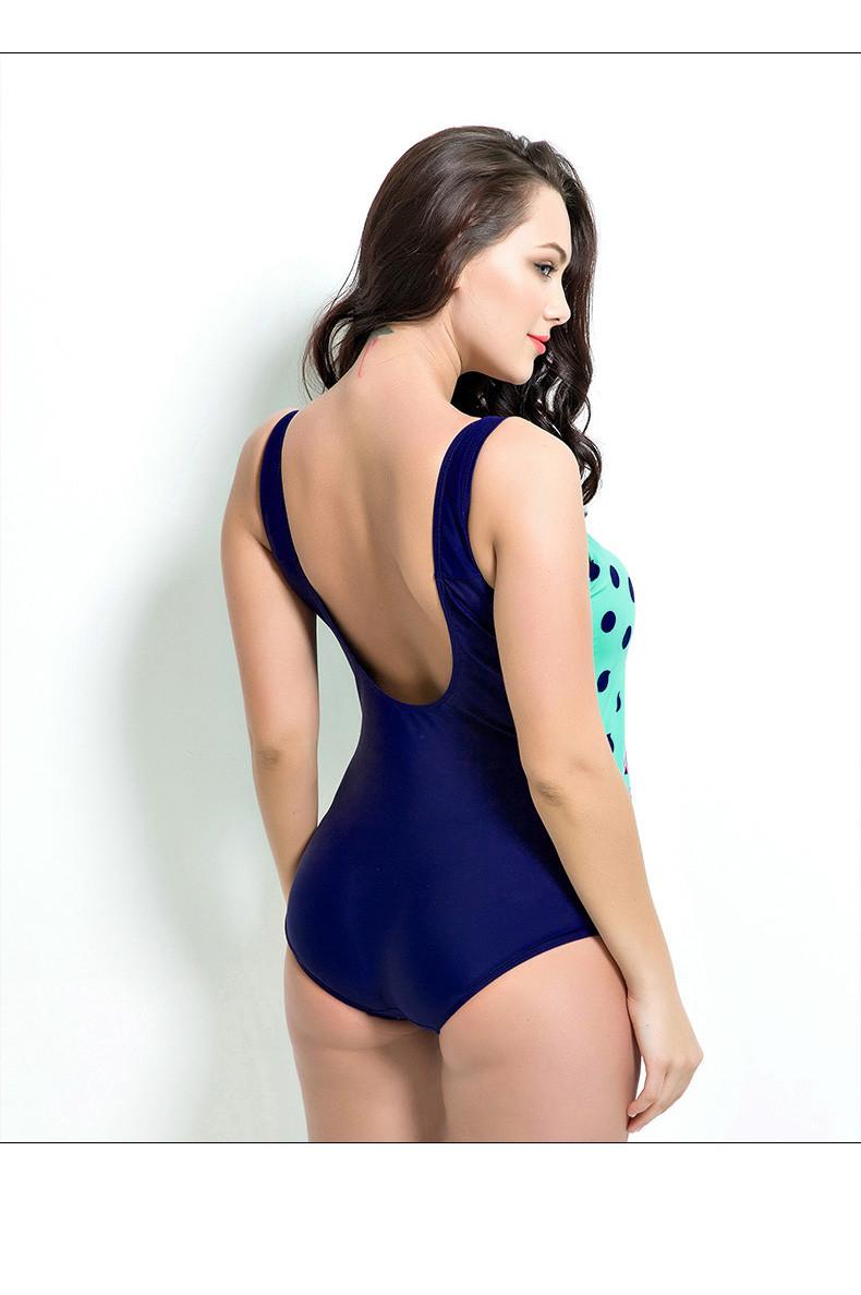 Latest ! Vintage Pad Swimwear Women Retro Plus Size One Piece Swimsuit Dress 4XL Floral Dot Backless Soft Bathing Suit F1692 19
