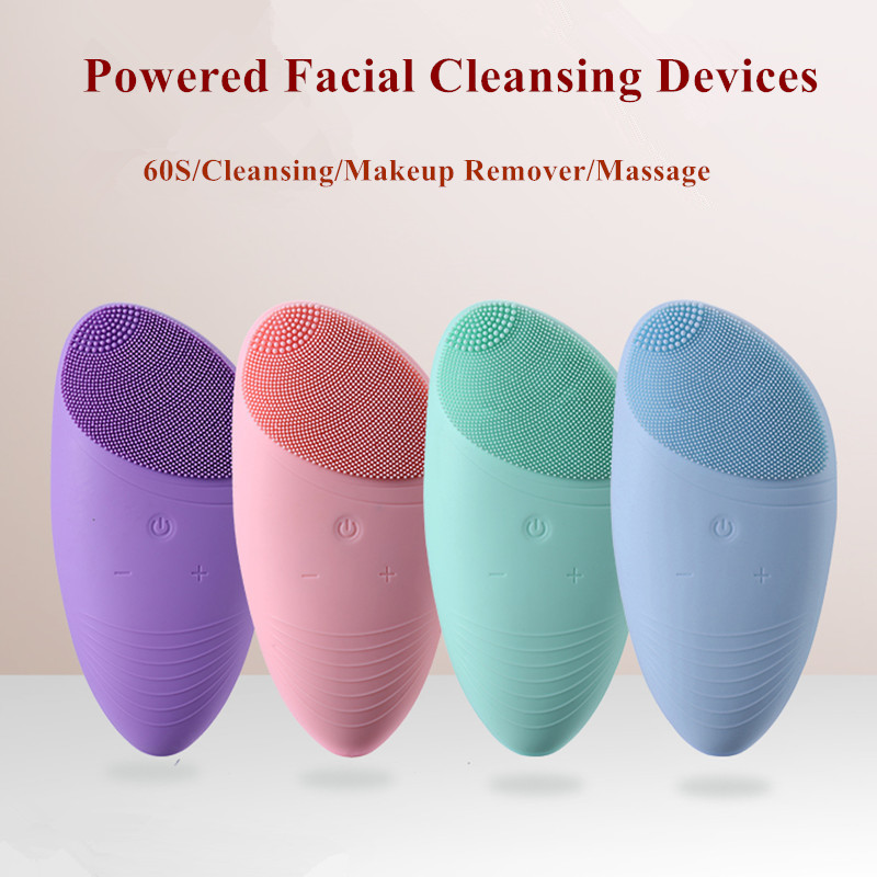 Powered Silicone Facial Cleansing Devices Sonic Vibration Massage USB Recharge Smart Ultrasonic Face Cleaner Brush Beauty ToolPowered Silicone Facial Cleansing Devices Sonic Vibration Massage USB Recharge Smart Ultrasonic Face Cleaner Brush Beauty Tool