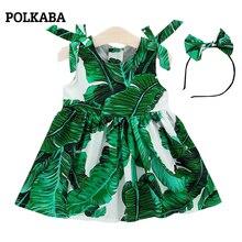 Baby Girl Dress 0-3 Cotton Summer Newborn Girl Dresses Daun Daun Cetak Tanpa Lengan Hijau dengan Band rambut Sundress untuk Girls Kid