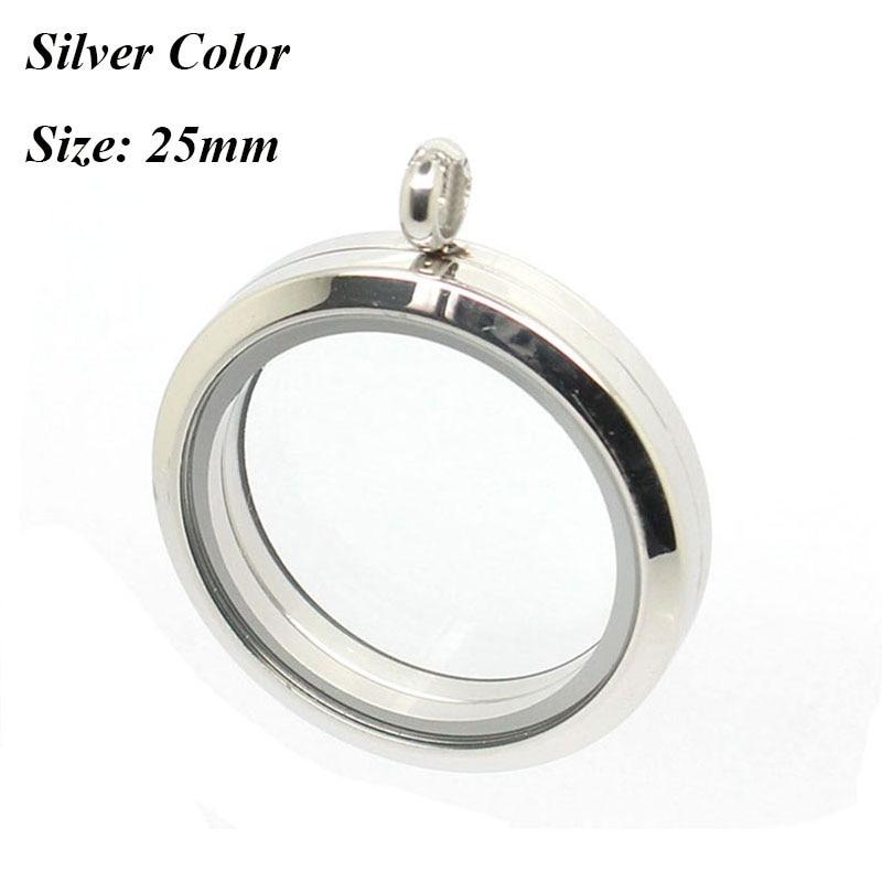 Медальон 20 мм 25 мм 30 мм 35 мм магнитный Серебряный 316L Нержавеющая сталь плавающий медальон кулон - Окраска металла: 25mm