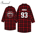 Boy friend style BTS women blouses and shirts 2016 Spring fashion red plaid blouse big size ladies shirt letter blusas femininas