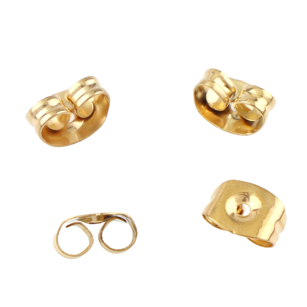 100PCS High-Quality Stainless Steel Gold Silver Hardback Earring Stopper For Jewelry Making Finding Earrings DIY Ear Back Plug100PCS High-Quality Stainless Steel Gold Silver Hardback Earring Stopper For Jewelry Making Finding Earrings DIY Ear Back Plug