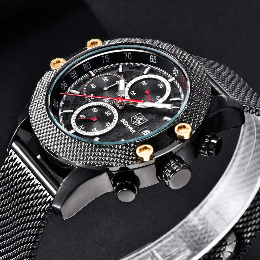 BENYAR Luxury Brand Sport Chronograph Watches Men Mesh Band Waterproof Military Quartz Watch Relogio Masculino dropshipping ak military canvas band waterproof quartz sport watch