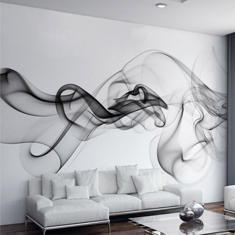 Custom Mural Wallpaper Smoke Clouds Wall Mural Abstract Artistic Wallpaper Modern Minimalist Bedding Room TV Backdrop Wall Paper