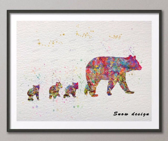 DIY Original Watercolor Bear Family Canvas Painting Modern Animal Wall Art Poster Print Pictures Living Room