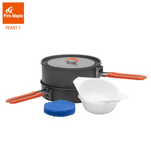 Fire Maple Feast 1 Outdoor Camping Hiking Cookware Backpacking Cooking Picnic Pot Pan Set Foldable Handle 1-2 Persons FMC-F1 цена
