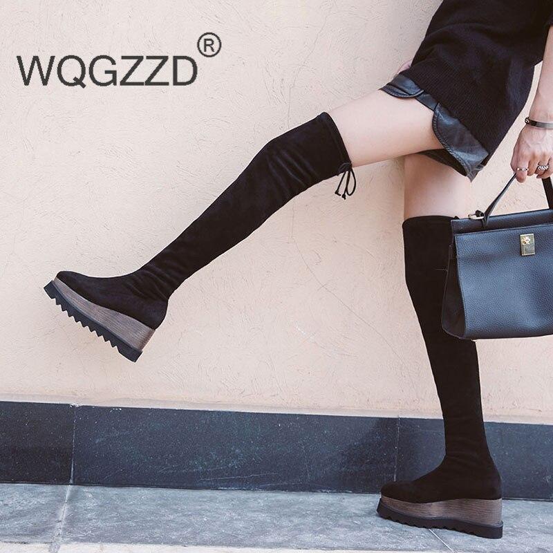 Marca Zapatos Flock Mujeres Cuñas Black La De Lujo Plataforma Mujer Botas  Sobre Plana Casual Rodilla Tq0wXrBTxE fe5e45961340