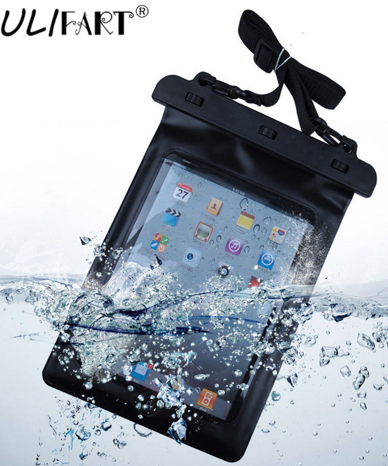 ULIFART Black 100% Waterproof Pouch Dry Bag Sleeve Case Carrying Bag For 9.7Inch iPad Air2 Ipad2/3/4 Tablet Gadget Accessory puluz waterproof dual layers portable carrying case stocker box for gopro hero5 black edition 4 3 3 2 1 xiaoyi size 28x25x16cm