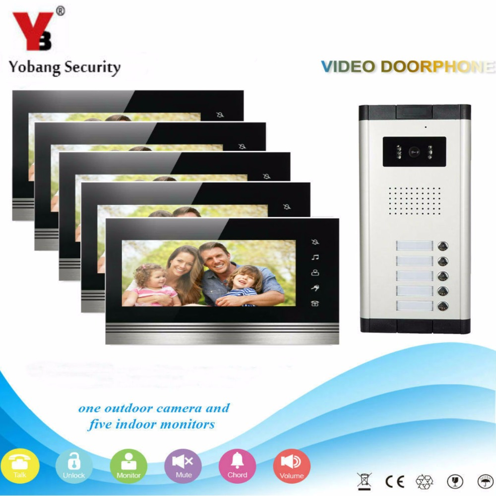 Yobang Security 5 Units Apartment Intercom Wired 7 Video Door Phone Video Door Entry System Intercom Doorbell HD Camera Home