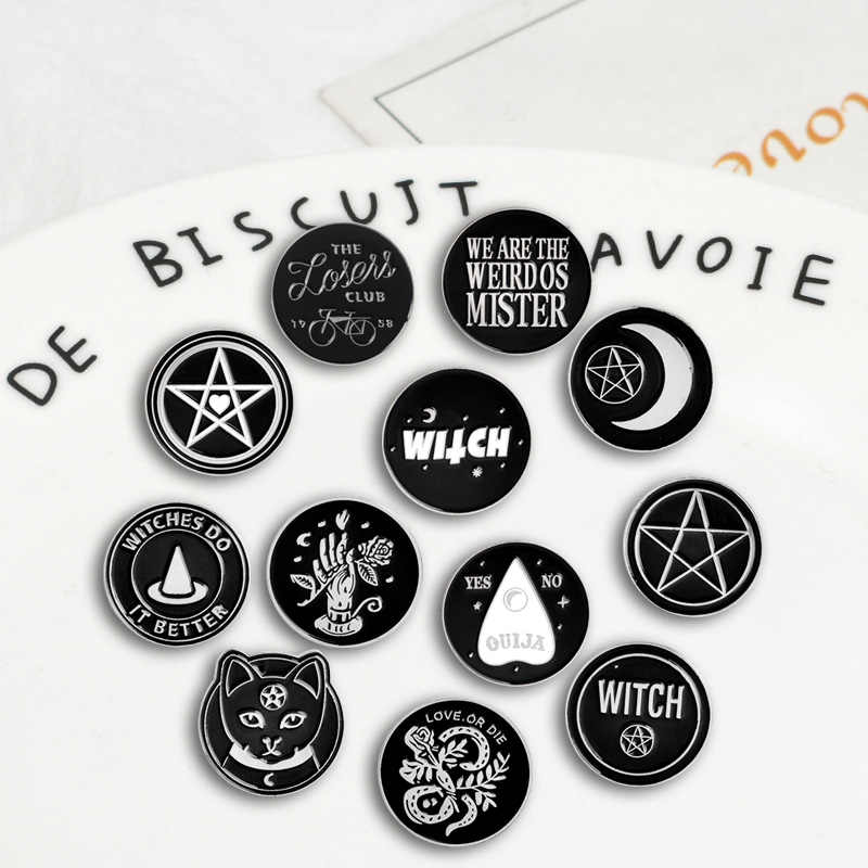 Collect Various Round Punk witch Coin styles Badges Brooches Denim Enamel lapel pins Gifts for cool men women Jewelry wholesale