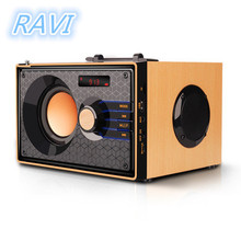 Wooden Bluetooth Speaker Wireless Bluetooth Subwoofer Outdoor Stereo Speaker MP3 Music Player Support FM and TF Remote Control