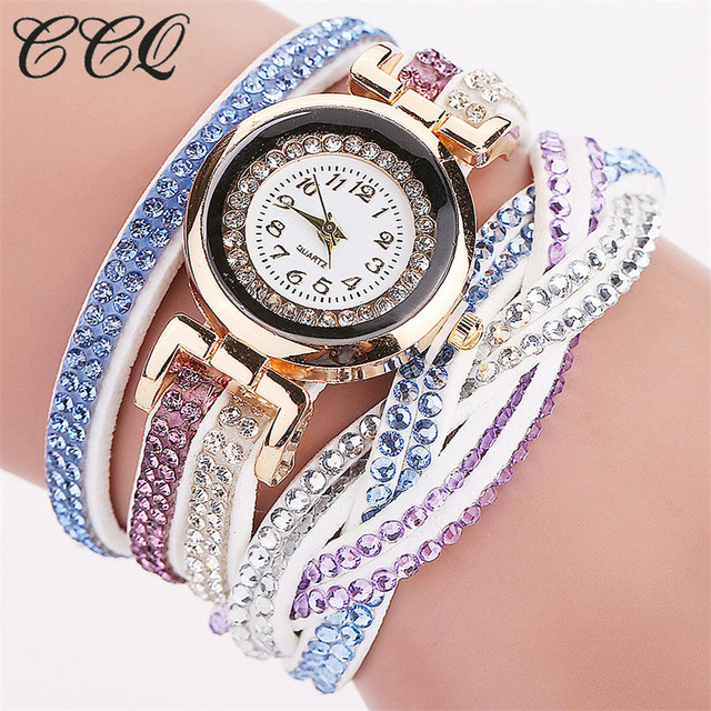 CCQ Fashion Women Dress Watch Luxury Crystal Gold Bracelet Watch Braided Leather