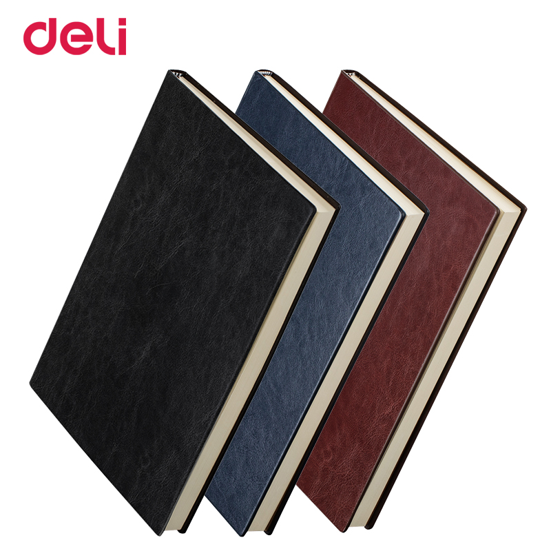Deli wholesale 25K/A4 hardcover soft PU leather diary notebook for school vintage office planner journal traveler book customise customise