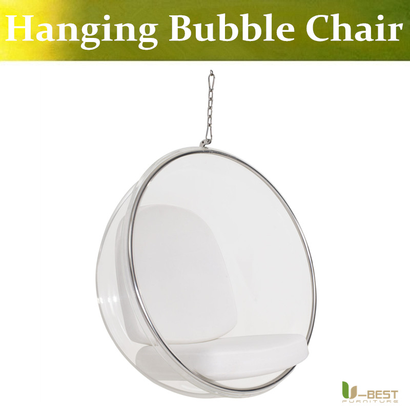 U-BEST Good quality comfortable acrylic hanging bubble plastic chair,  leisure living room chairs