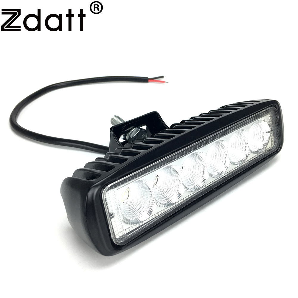 Zdatt 1pcs 6 Inch 18W LED Work Light for Indicators Motorcycle Driving Offroad Boat Car Tractor Truck 4x4 SUV ATV 12V 2pcs 6 inch 18w led work light for indicators motorcycle driving offroad boat car tractor truck 4x4 suv atv spot flood 12v