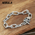 100% Genuine 925 Sterling Silver Vintage Punk Skulll Skeleton Link Chain Bracelet Thai Silver Jewelry for Man or Women
