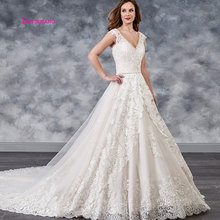 LEIYINXIANG Fashion Illusion Back Boho Wedding Dress 2019 Appliques Off the Shoulder Sexy V-neck A Line Backless Gowns