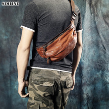 High Quality 100% Genuine Leather Waist Bag Pack Men Luxury Vintage Cowhide Shoulder Crossbody Chest Motorcycle Bags For Male