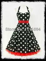 free shipping BLACK POLKA DOT 50's PINUP ROCKABILLY SWING UK 8 26WIGGLE DRESS summer dress