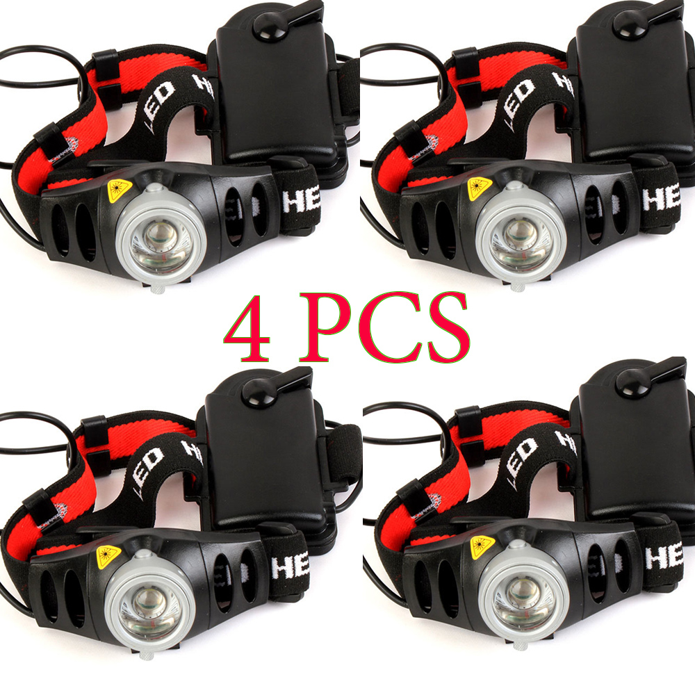 4PCS 1200lm Q5 LED Headlamp Headlight for Bicycle Hunting Camping Outdoor Lighting Zoom In/ Out Adjustable Focus Light