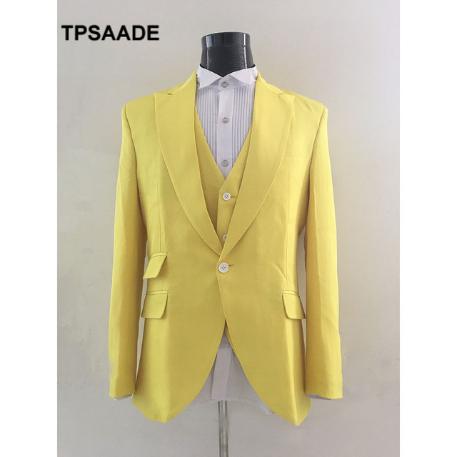 2017 New Men Suits Yellow Groom Suits Slim Fit Blazer Peaked Lapel ...