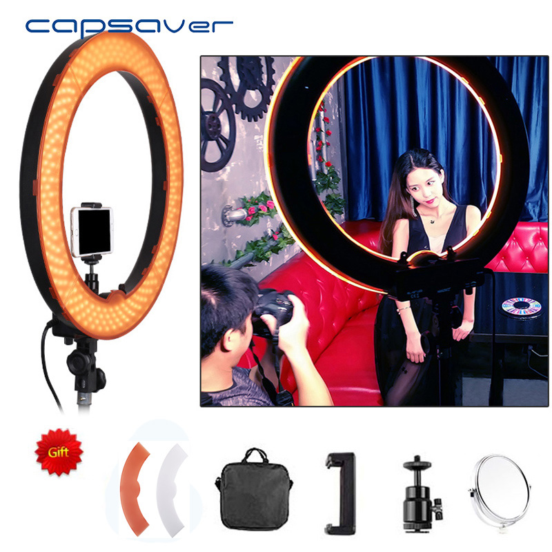capsaver 18in LED Ring Light Photography Lighting Dimmable 5500K 240 LED Camera Photo Studio Phone Video Lamp with Makeup Mirrorcapsaver 18in LED Ring Light Photography Lighting Dimmable 5500K 240 LED Camera Photo Studio Phone Video Lamp with Makeup Mirror