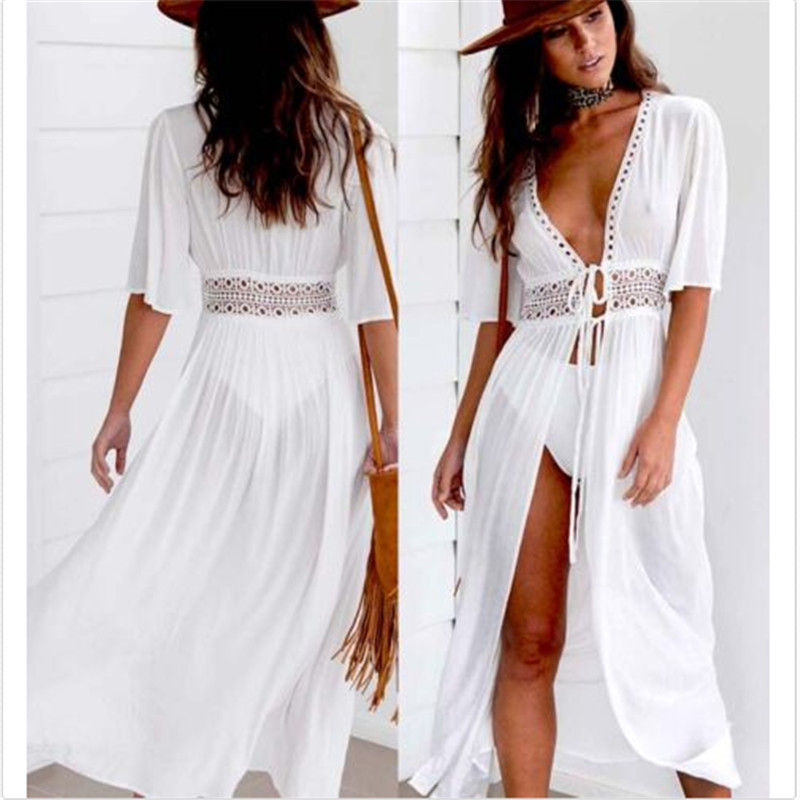 Women Beach Cover Up Dress Swimsuit Bikini Cover Up Long Summer Dress 2019 White Hollow Out Wrap Maxi Dress Beachwear Sundress
