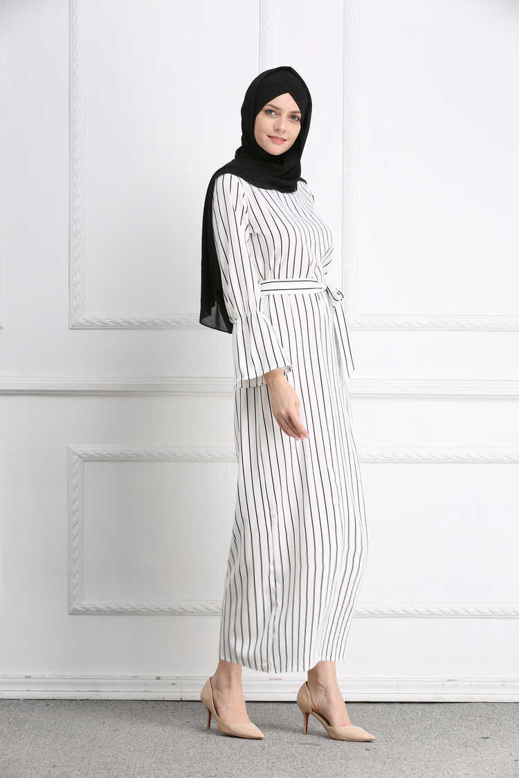 Moslim Streep Maxi Jurk Trompet Mouw Abaya Lange Rok Gewaad Toga Tuniek Kimono Jubah Midden-oosten Ramadan Arabische Islamitische Kleding