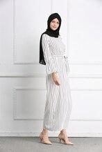 Muslim Stripe Maxi Dress Trumpet Sleeve Abaya Long Skirt Robe Gowns Tunic Kimono Jubah Middle East Ramadan Arab Islamic Clothing