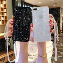 Fashion Bling Starry sky Lanyard Soft TPU Cover For iPhone 6 6s X XR Xs Max 7 8 Plus Phone Case Huawei P20 Lite P30 Pro