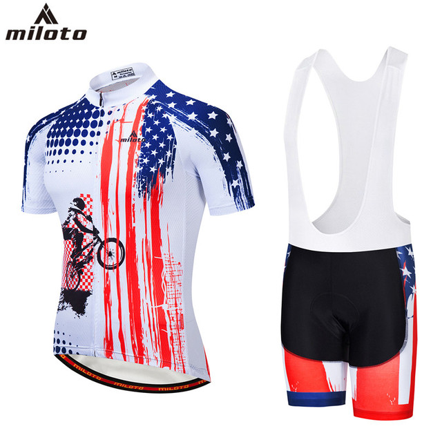 White Mens Cycling Clothing Short Sleeve Reflective Cycle Jersey and Bike  GEL Padded Bib Shorts Set Bicycle Kits 4XL 5XL Miloto f4c353317