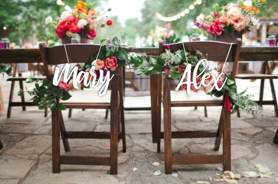 Wedding Bride And Groom Chairs Chair Design Bangladesh Personalized Wood Sign Reception Signs With Custom Names Set Wooden
