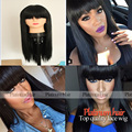 Fashion Stock! Long Silky Straight Black Hair Wigs With Bangs 180 Density Heat Resistant Fibre Synthetic Wigs With Baby Hair