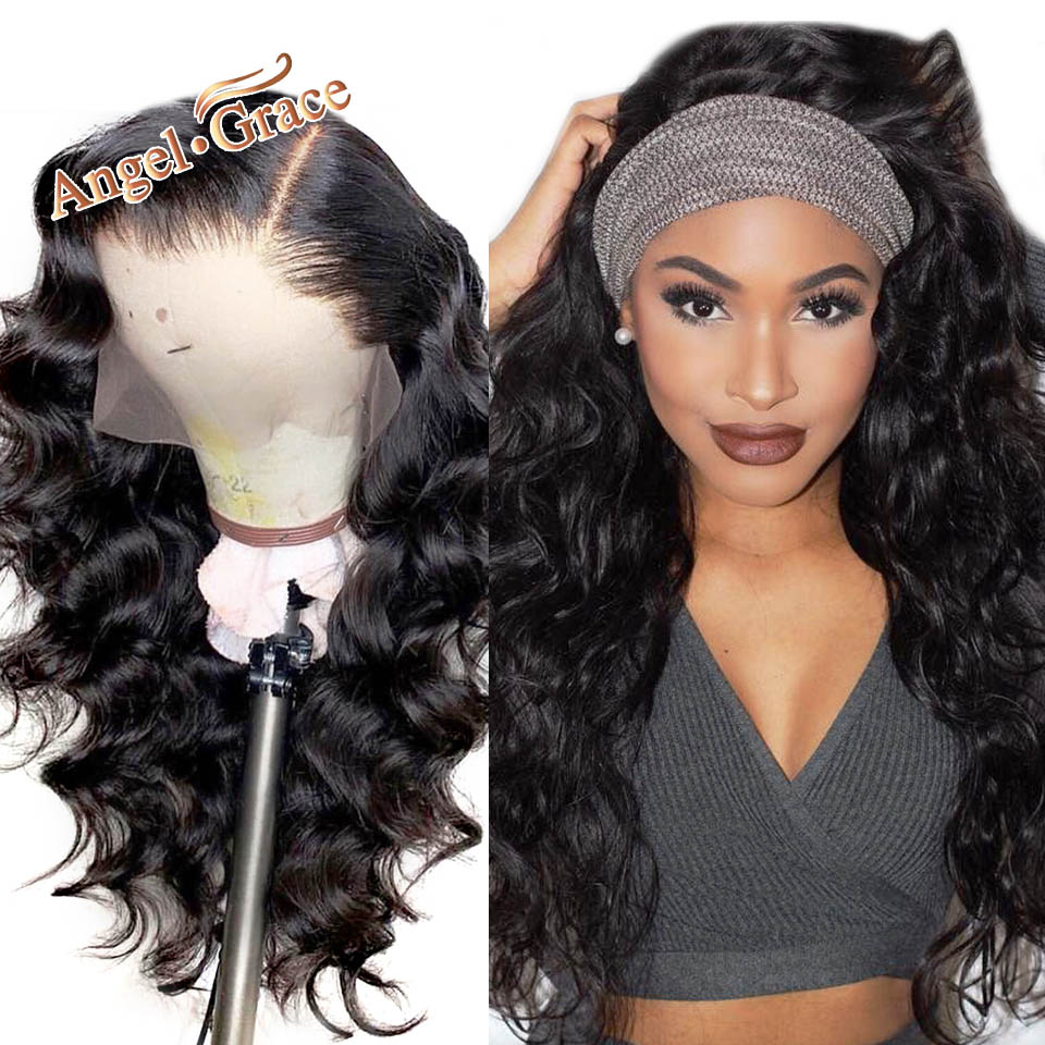 Brazilian Loose Wave Lace Front Wigs Angel Grace Hair Wigs With Baby Hair Black Remy Human