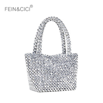 Acrylic Pearls bag beaded box totes bag women party vintage silver bucket handbag 2019 spring summer luxury brand drop shipping