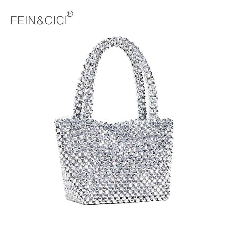 Acrylique perles sac perlé boîte fourre-tout sac femmes parti vintage argent seau sac à main 2019 printemps été marque de luxe livraison directe