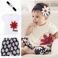 3 pçs/set recém-nascidos roupa do bebê baby girl dress crianças verão conjuntos de roupas infantis do bebê da roupa do bebê t-shirt + calças + headband