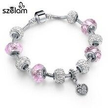 925 Silver Pink Beads Bracelets For Women 2016 Vintage Heart Pendant Charm Bracelet With Crystal Summer Jewelry SBR160080 pink crystal charm bracelet silver beads women bracelets bangles 2016 vintage jewelry sbr160296