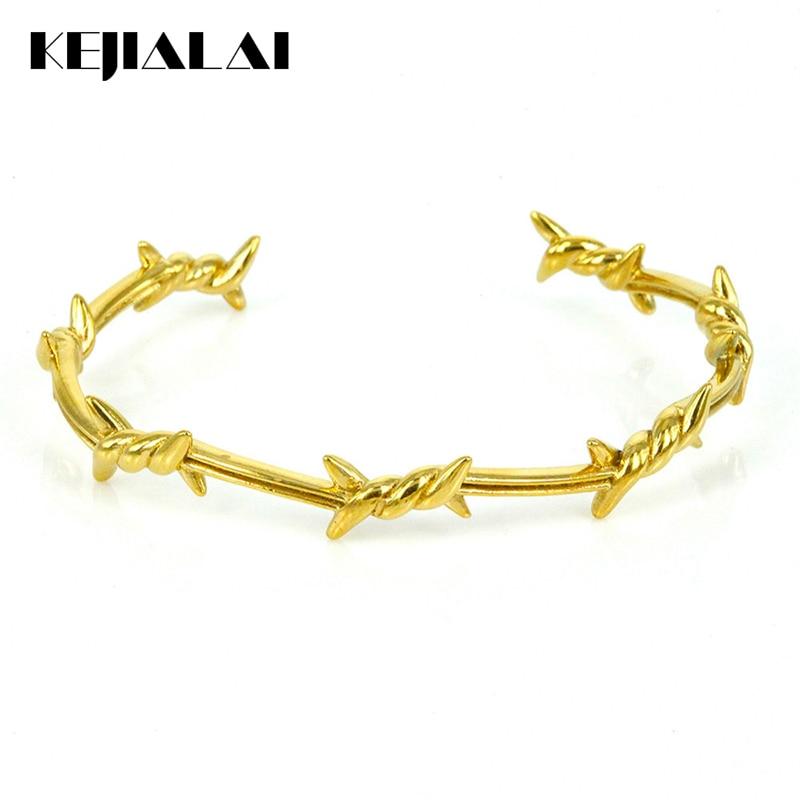 Men Bracelet Titanium Steel Twist Thorns Open Cuff Bangle for Women Pulseras Mujer Men Jewelry Punk Style Party Accessory Gift