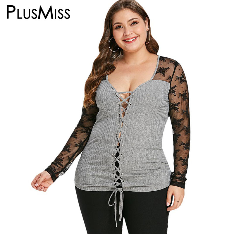 f2629ec57a71e PlusMiss Plus Size 5XL-L Sexy Lace Mesh Long Sleeve Knitted Tops Tees Women  Sexy
